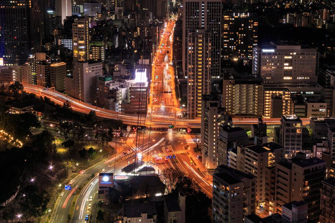 東京タワー特別展望台から撮影した夜景の写真