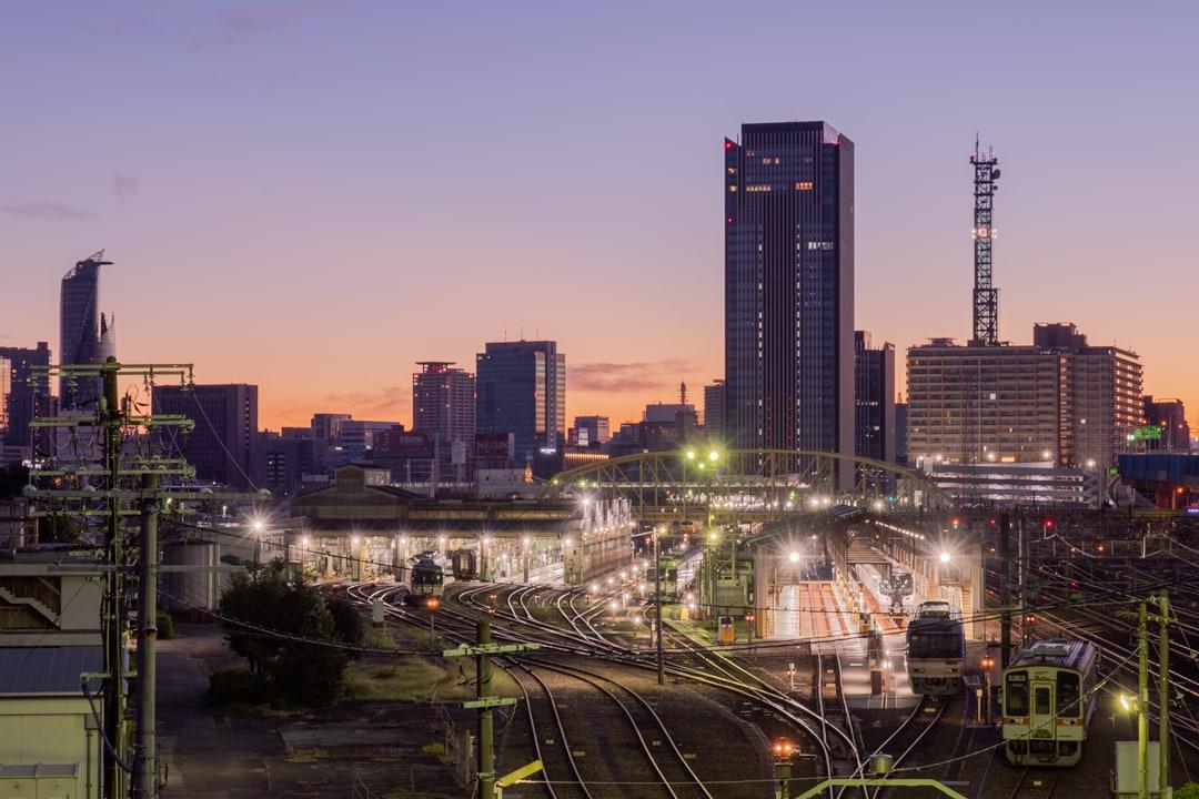 黄金跨線橋から撮影した朝焼け