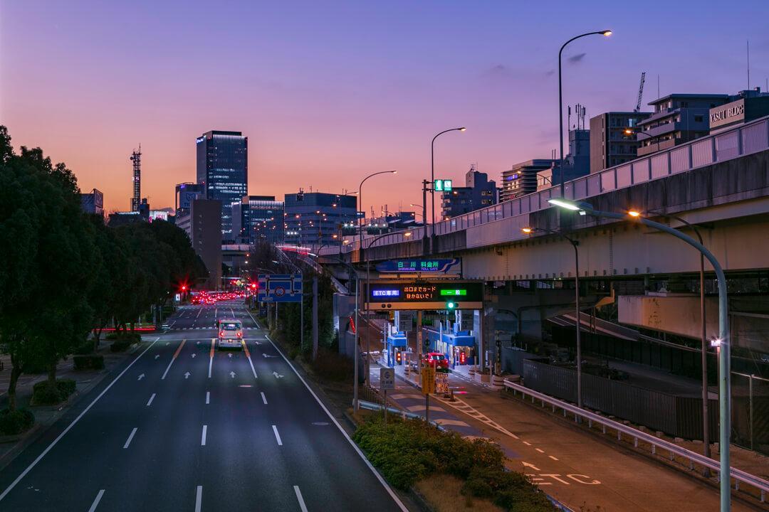 御園歩道橋から撮影したささしま方面の夜景