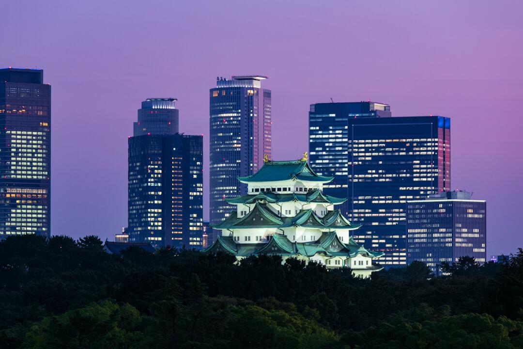 名古屋城の夜景写真