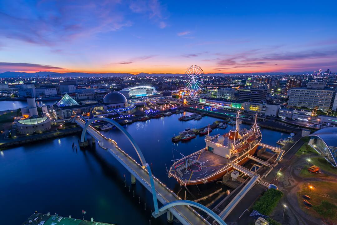 名古屋港ポートビルから撮影した夜景