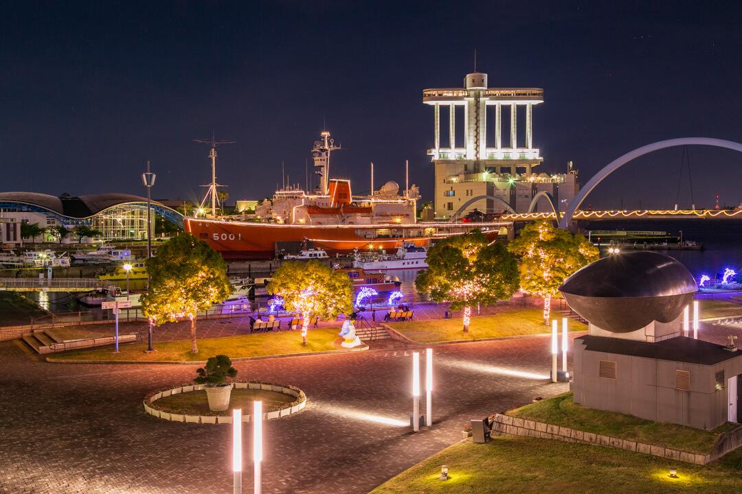 名古屋港ガーデンふ頭で撮影した夜景の写真