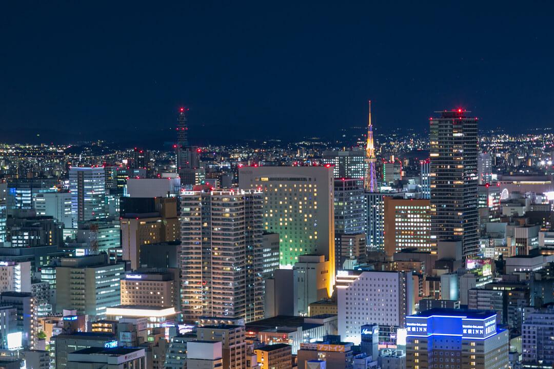 名古屋プリンスホテルスカイタワーから撮影した栄方面の夜景