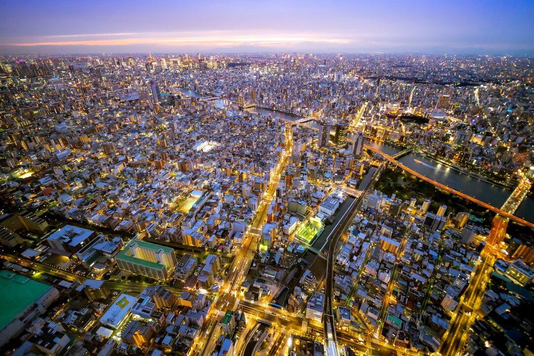 東京スカイツリー天望デッキから撮影した夜景
