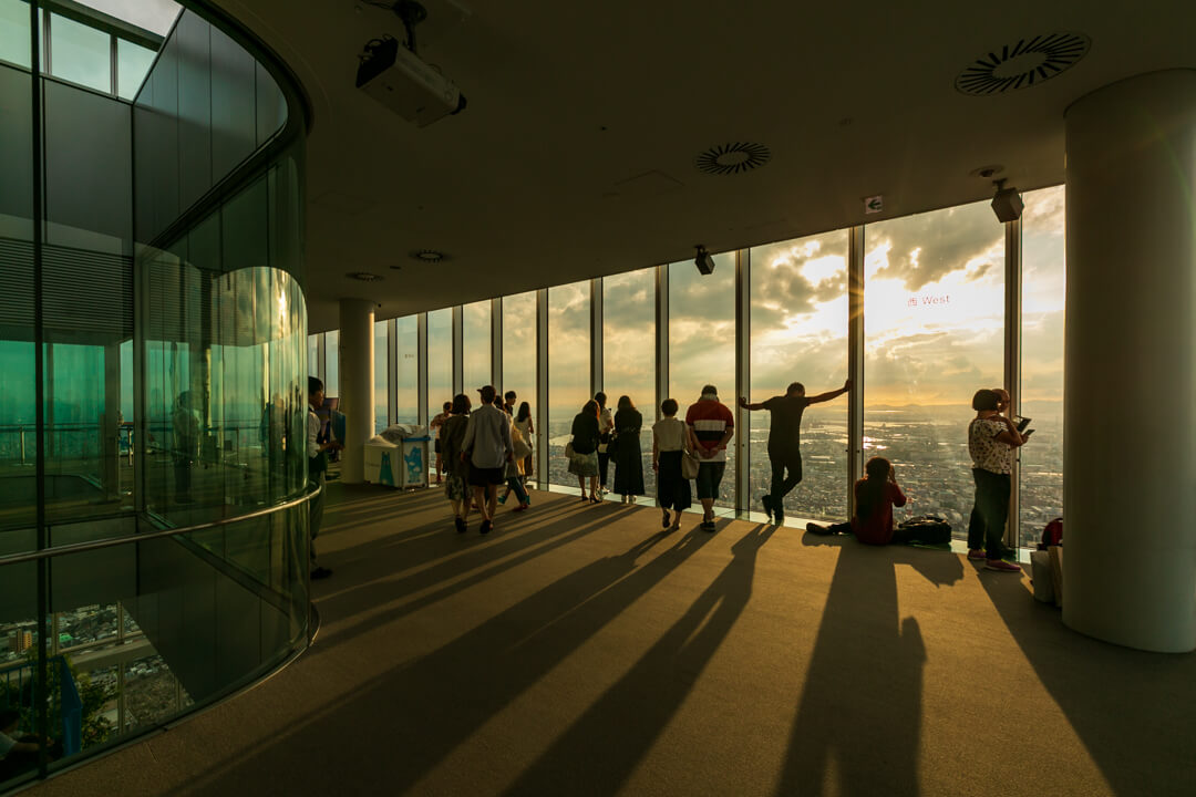 あべのハルカスから眺める夕焼けの写真