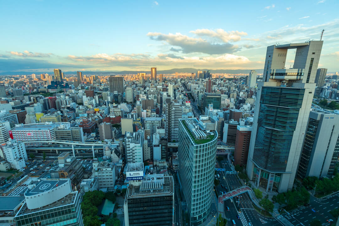 大阪駅前第3ビルの展望台からの景色(東側)