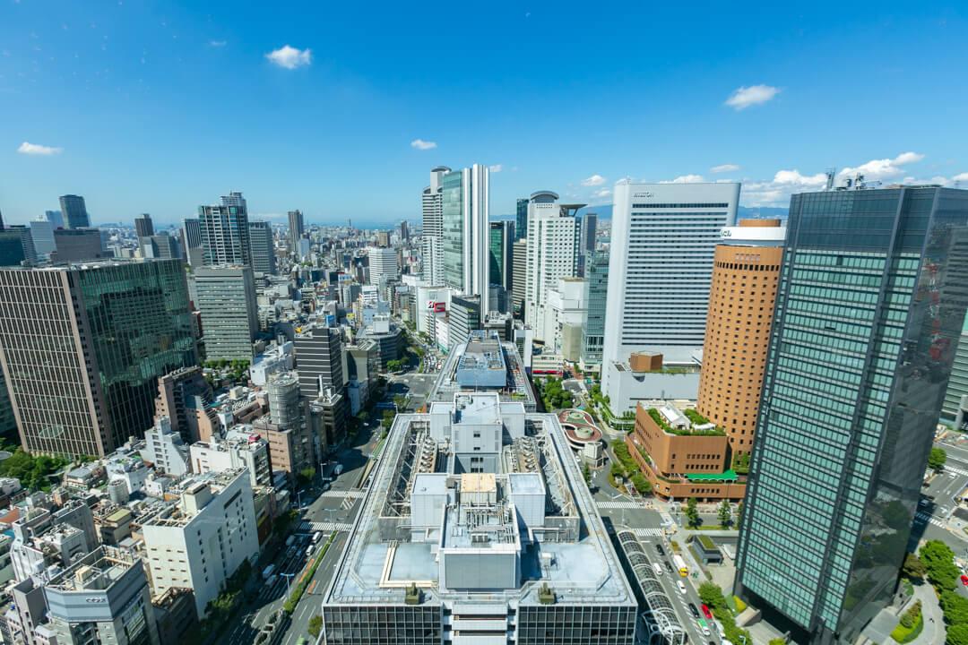 大阪駅前第3ビルの展望台からの景色(西側)