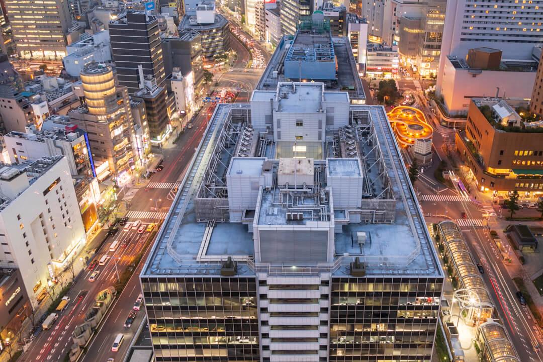 大阪駅前第3ビルの展望台から撮影した撮影したビル夜景