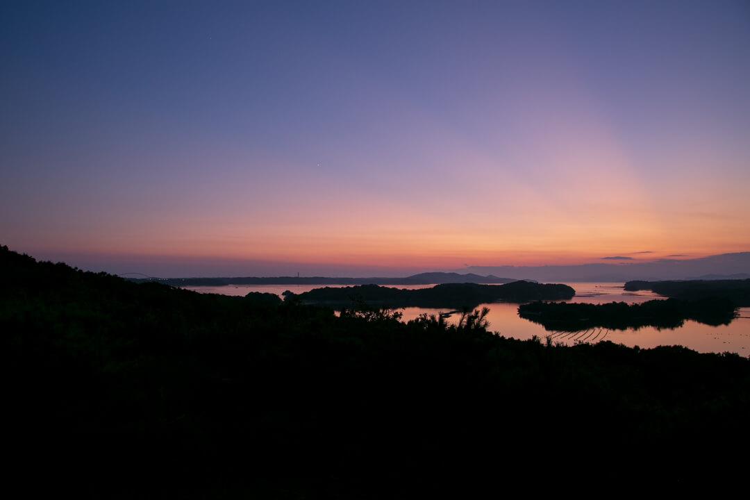 ともやま公園・桐垣展望台から撮ったトワイライトの景色