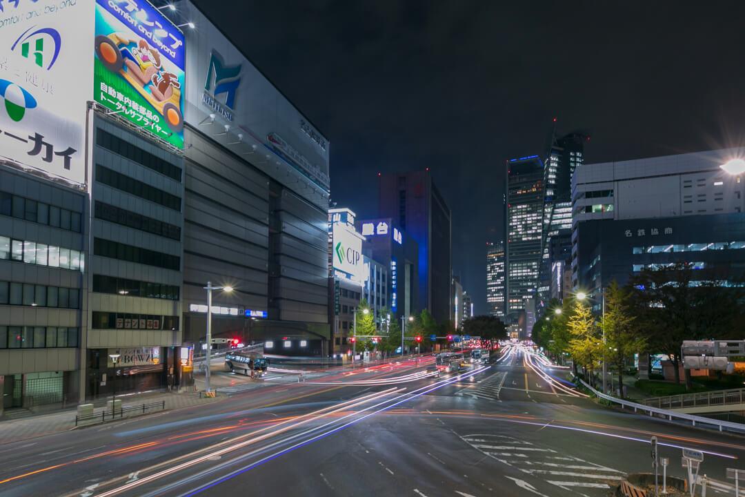 下広井歩道橋から撮影した夜景写真