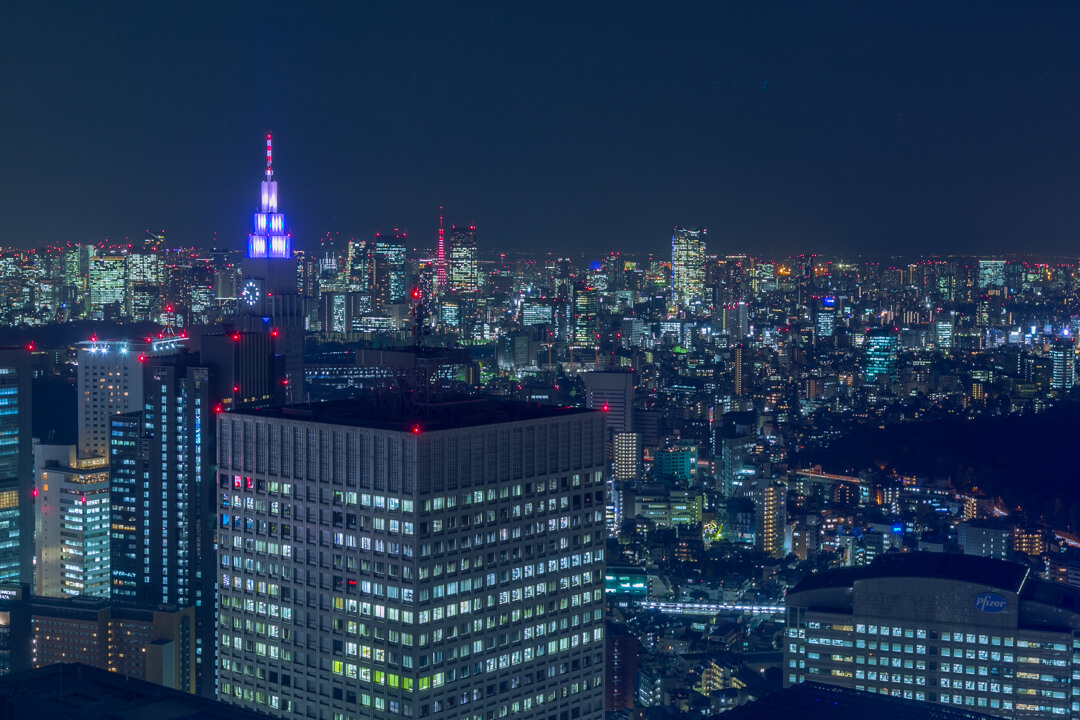 都庁展望台から撮影したドコモタワーと東京タワーの写真