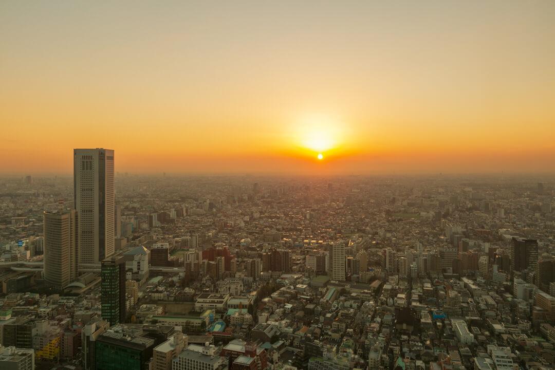 都庁展望台から撮影した夕暮れの写真
