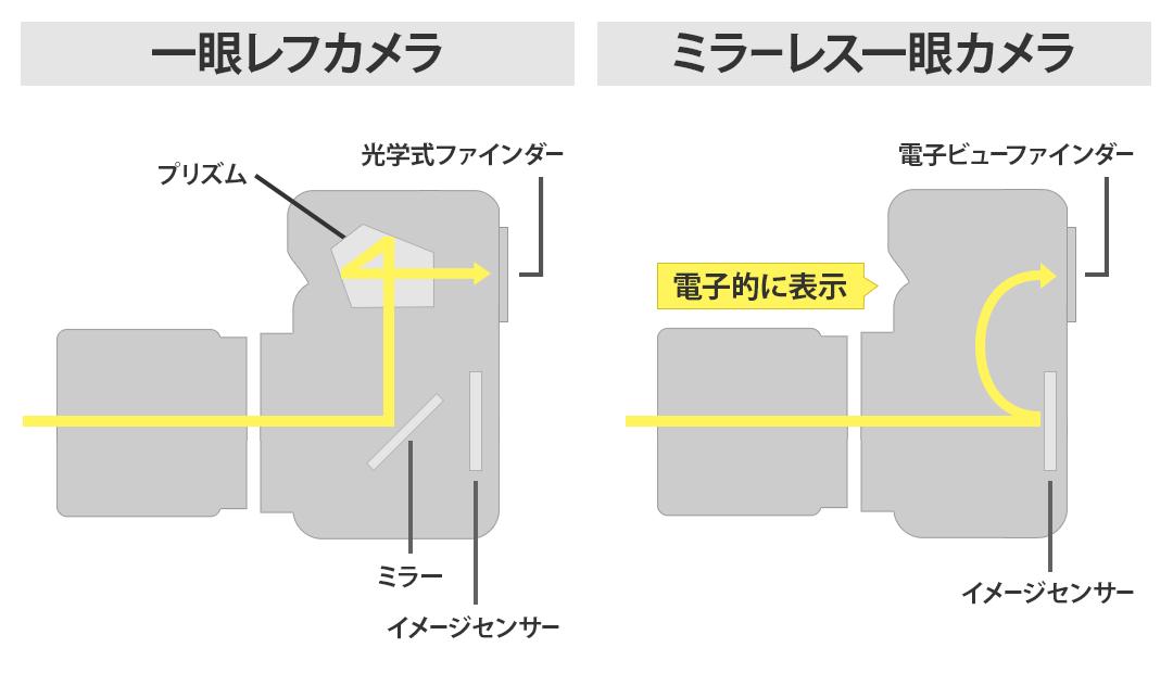 一眼レフカメラとミラーレス一眼カメラの構造を比較したイラスト