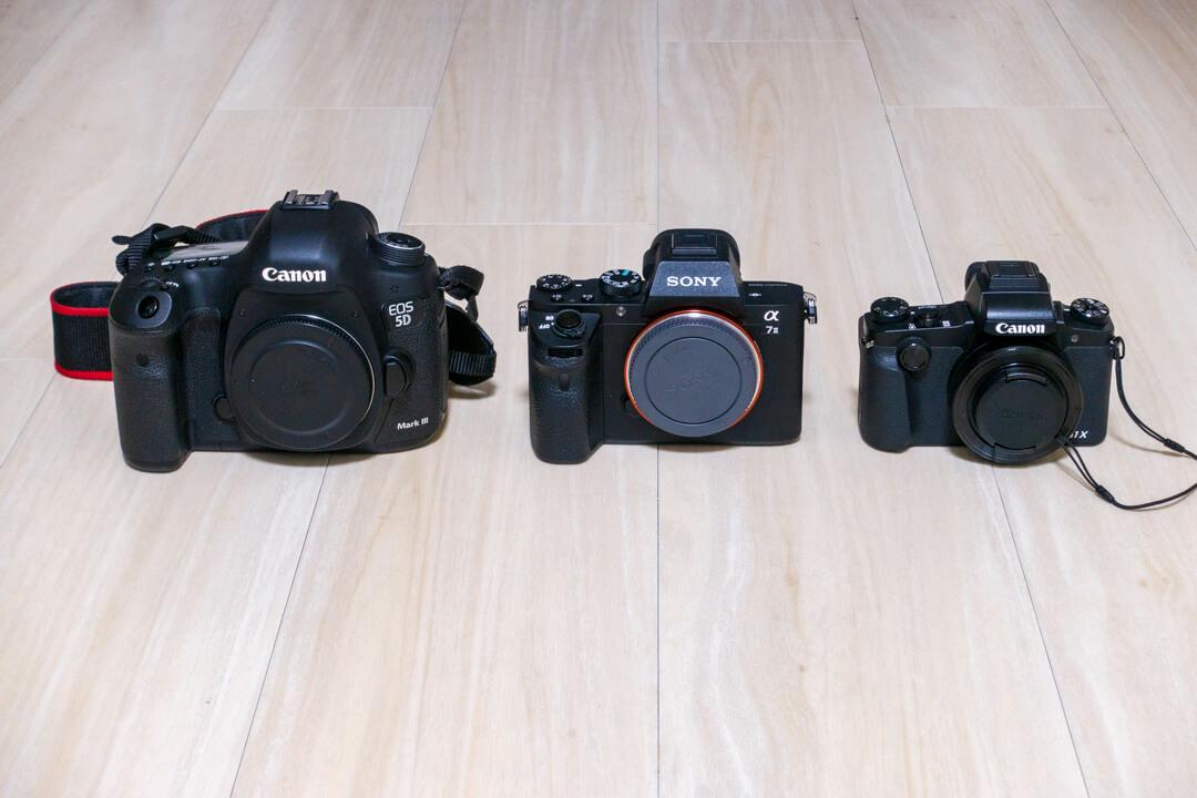 コンデジ・一眼レフカメラ・ミラーレス一眼カメラを並べた写真