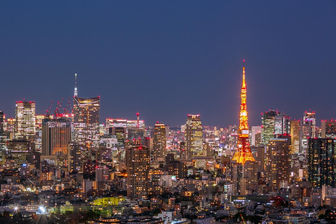 恵比寿ガーデンプレイス展望台・スカイラウンジから撮影した東京タワーとスカイツリーの夜景