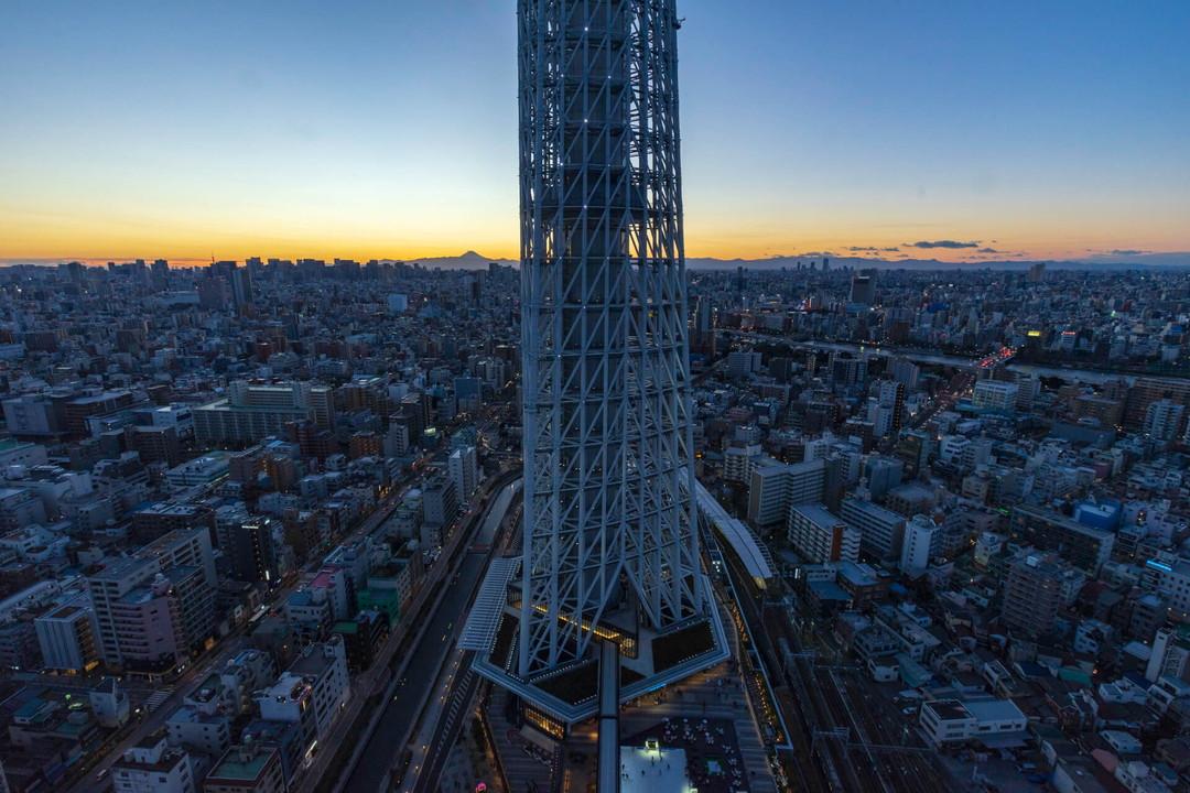 スカイツリーイーストタワー展望エリアから撮影したライトアップされたスカイツリー