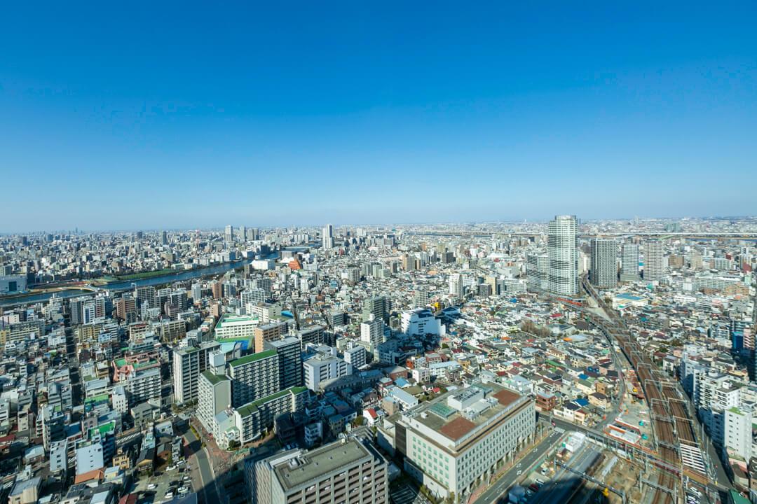 東京ソラマチの展望エリアからみた景色