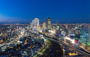 名古屋プリンスホテルスカイタワーから名駅方面の夜景を撮影してきた