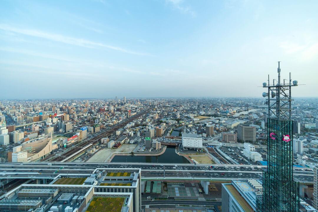名古屋プリンスホテルから撮影した中川運河方面の景色