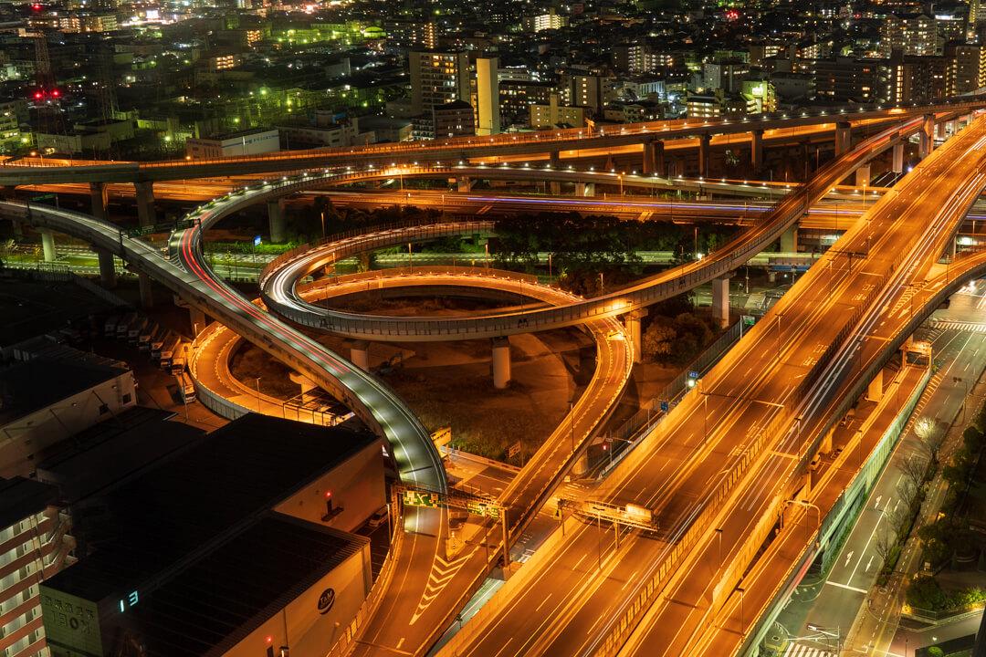 東大阪市役所から撮影した夜景