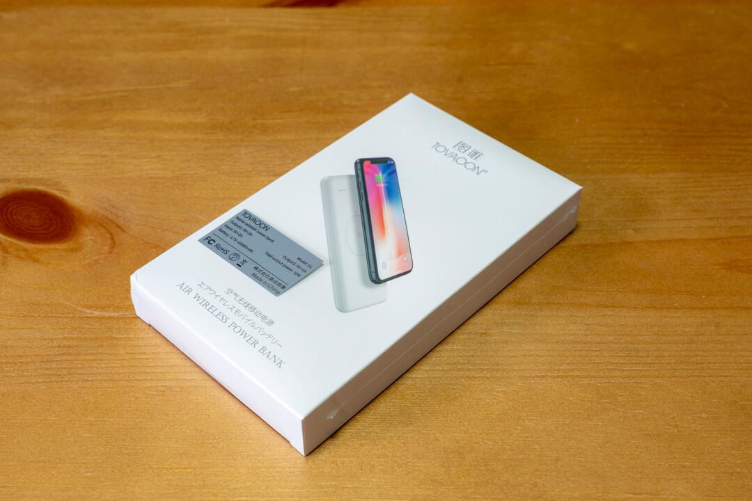 ワイヤレスモバイルバッテリー「JAP-TOVAOON-D1」のパッケージ