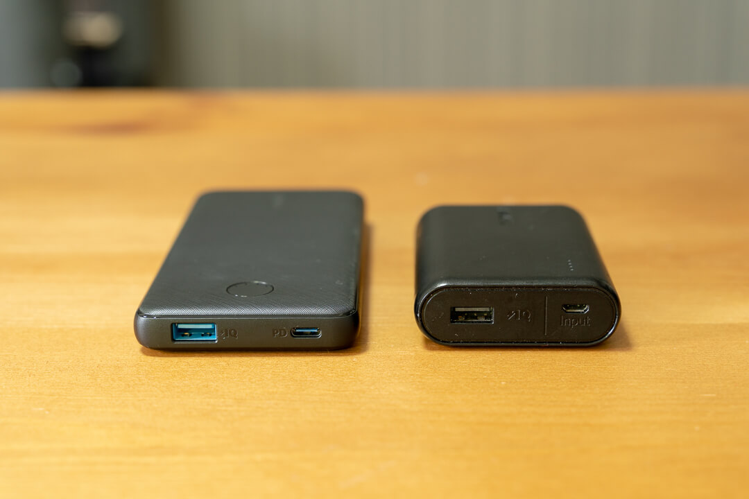 Anker PowerCore Slim 10000PDの大きさをAnker PowerCore 10000と比較