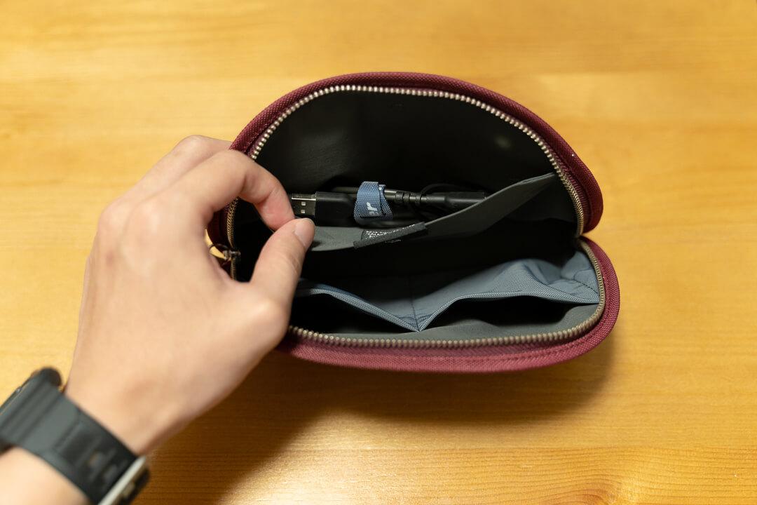 ベルロイクラシックポーチのサイドポケットの写真