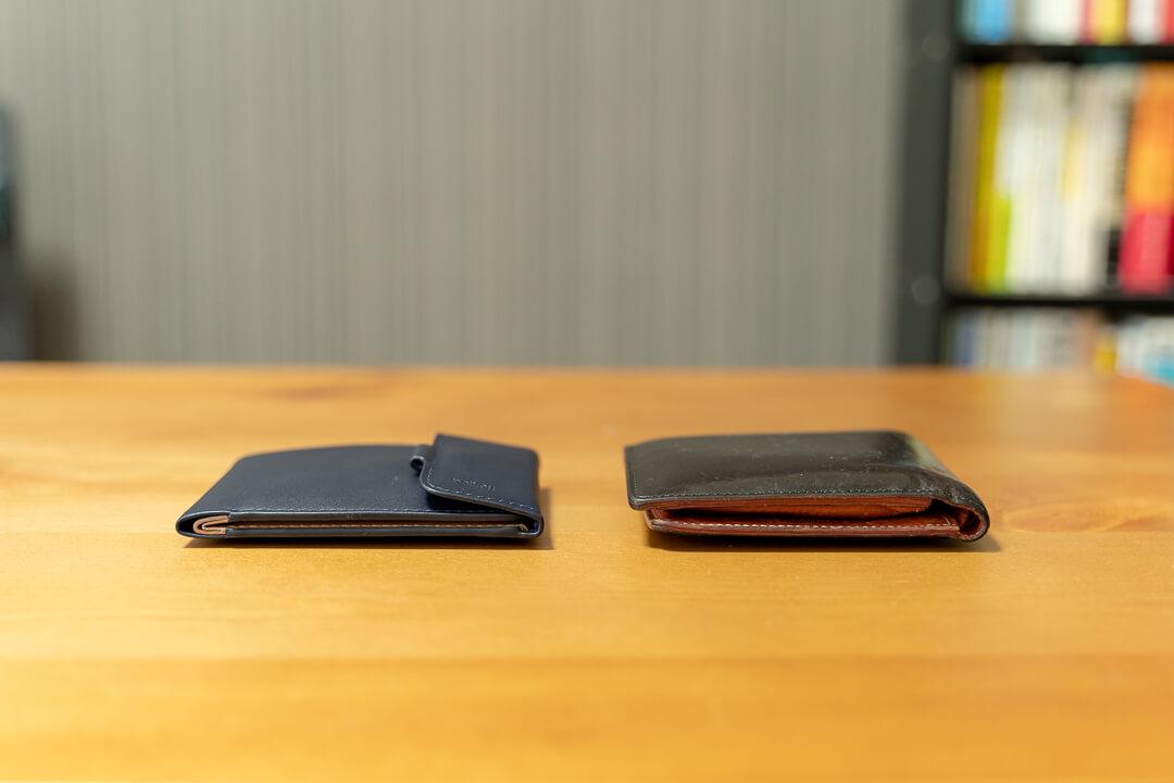 Bellroy(ベルロイ)コインフォールドの薄さを通常の財布と比較