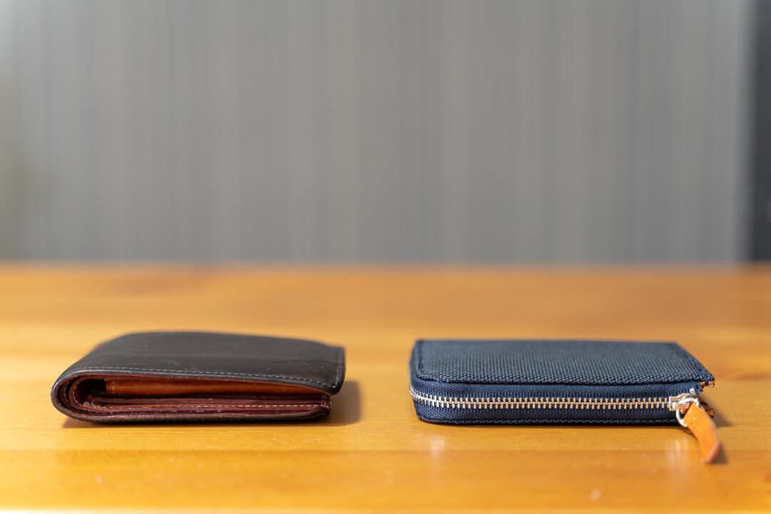 monogoods(モノグッズ) ポケット財布にお札を入れた後の厚さ