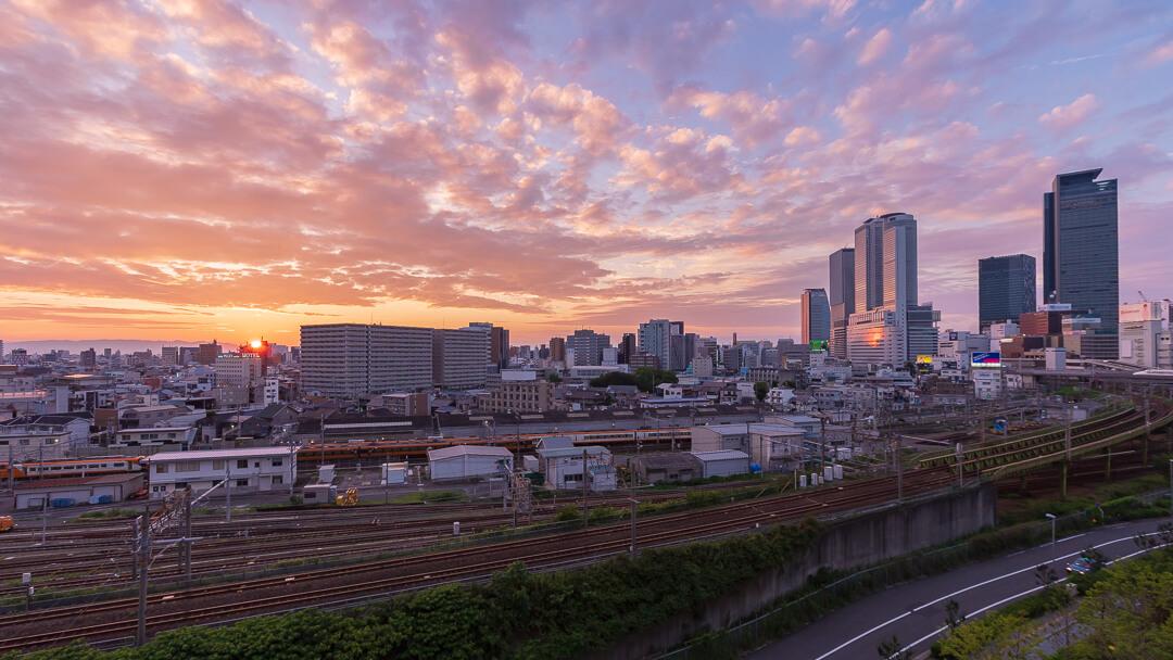 ささしまグローバルゲート5F 屋上庭園から撮影した夕暮れ