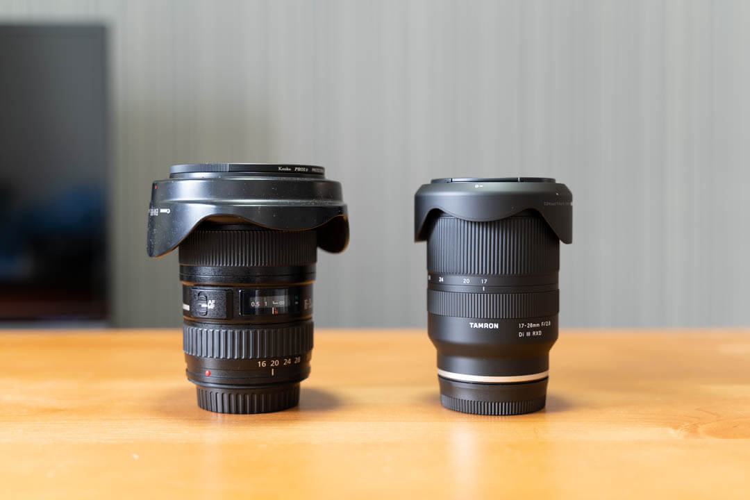 タムロン 17-28mm F2.8 Di III RXD A046の大きさを他の超広角レンズと比較