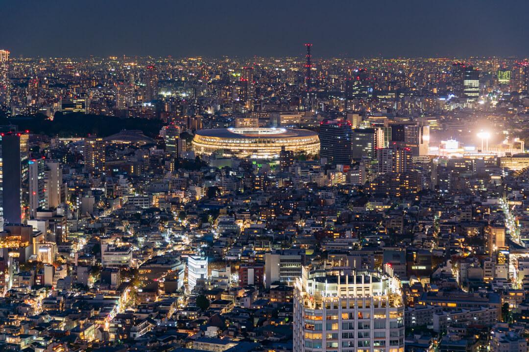 渋谷スクランブルスクエア展望台・渋谷スカイから撮影する新国立競技場