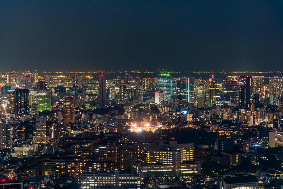 渋谷スクランブルスクエア展望台・渋谷スカイから撮影する北側の夜景