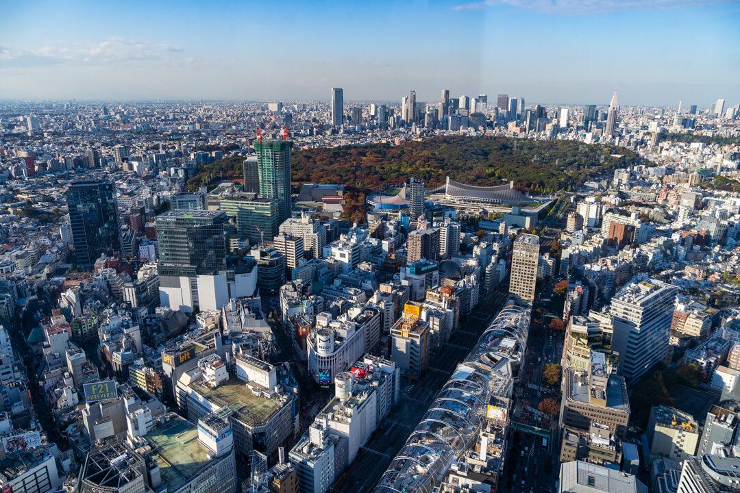 渋谷スクランブルスクエア展望台・渋谷スカイからの景色・南側