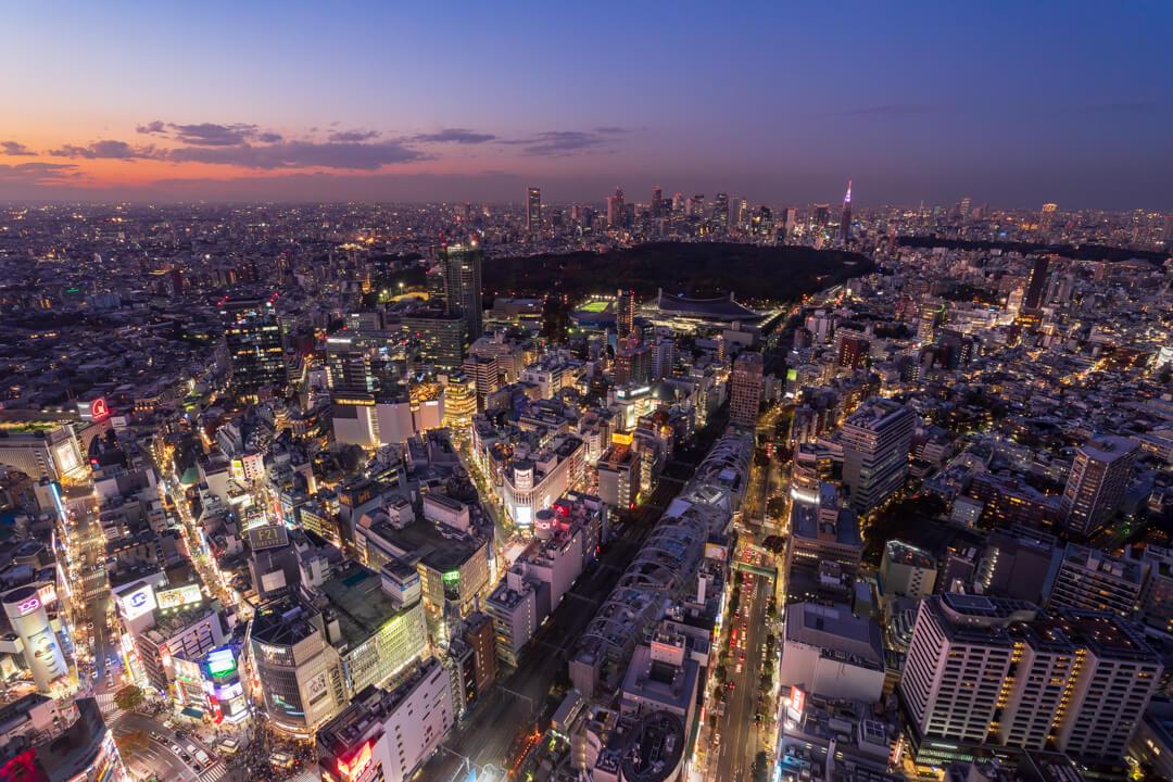 渋谷スクランブルスクエア・渋谷スカイから撮影した夜景