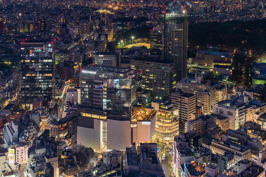 渋谷スクランブルスクエア展望台・渋谷スカイから撮影する渋谷方面の夜景