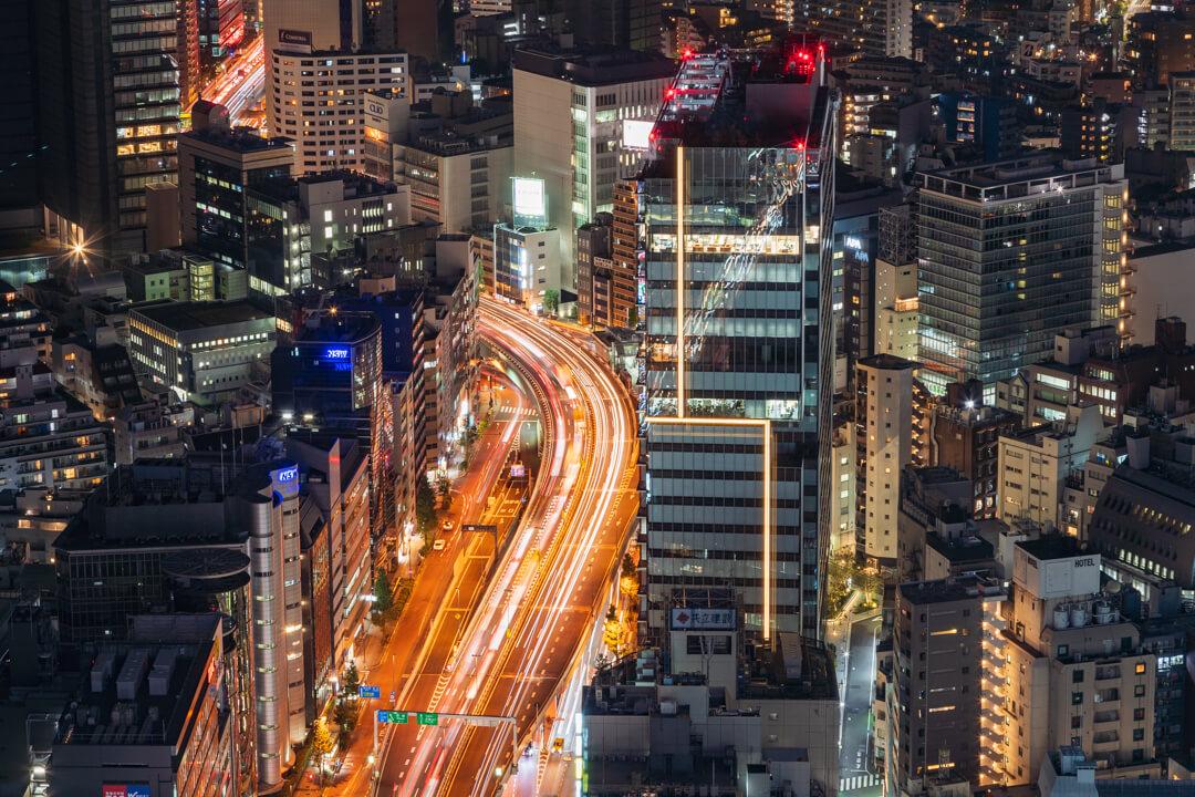 渋谷スクランブルスクエア展望台・渋谷スカイから撮影する西側の夜景