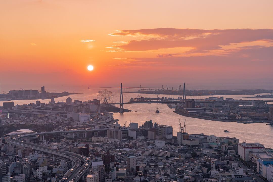 アートホテル大阪ベイタワーから眺める夕日