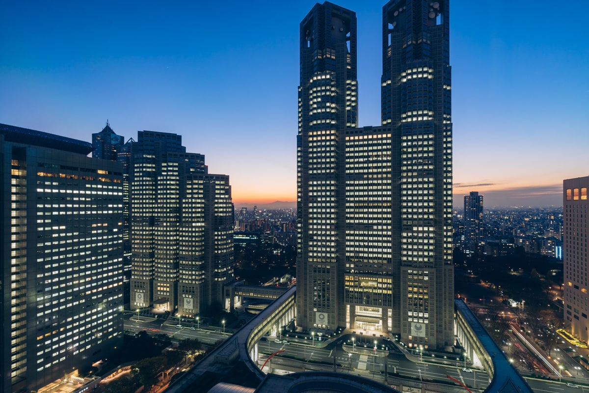 京王プラザホテルから撮影した都庁の夜景
