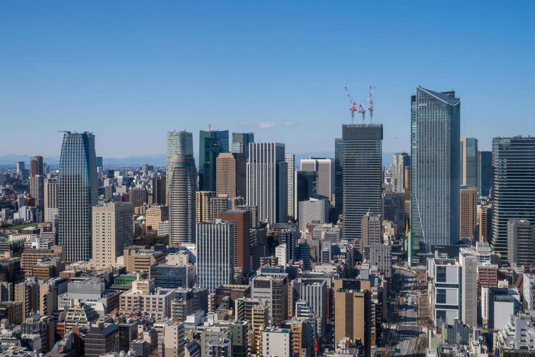 パークホテル東京から見た東京の高層ビル群