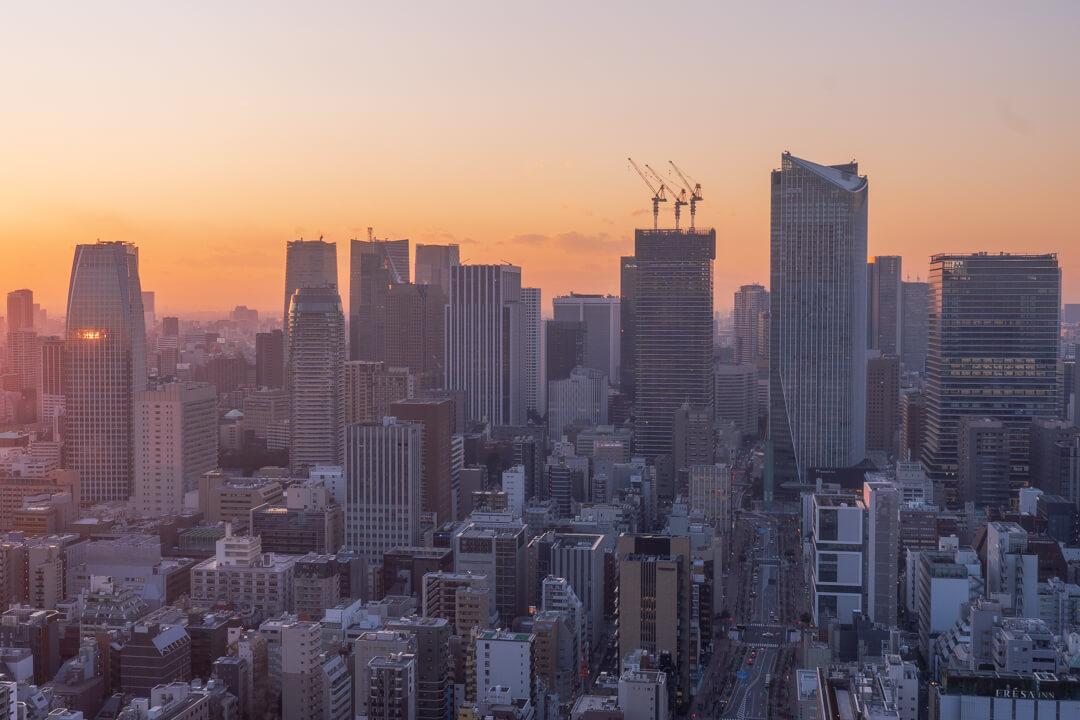 パークホテル東京から眺める夕日