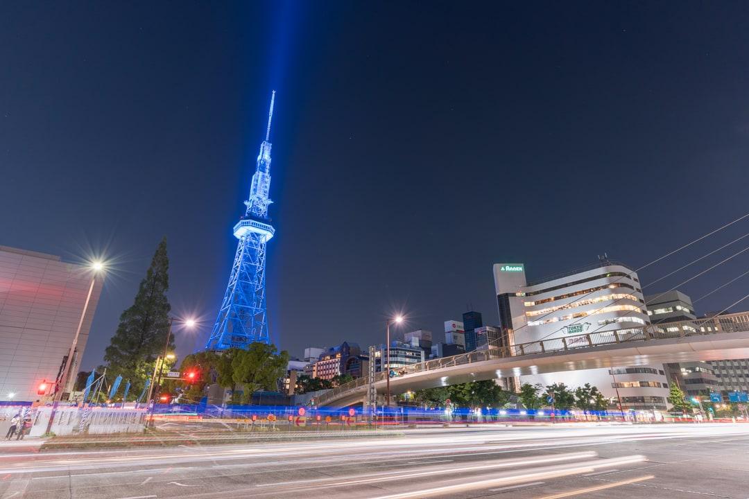 セントラルブリッジ周辺から撮影した名古屋テレビ塔