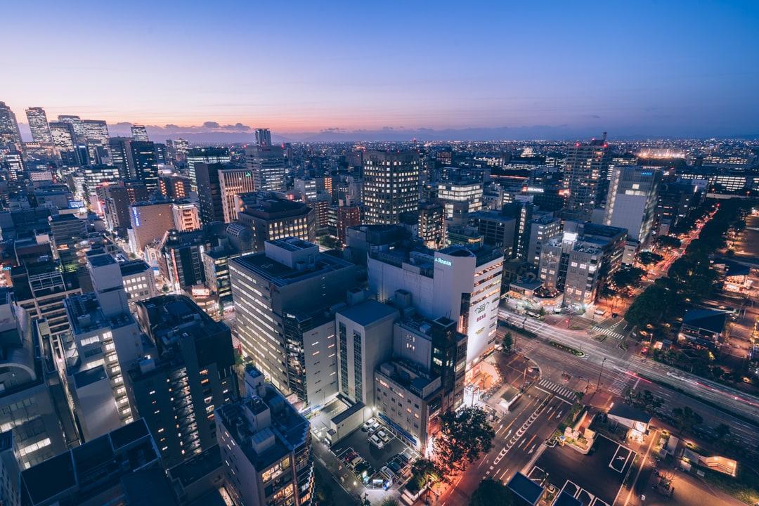 名古屋テレビ塔から撮影した名古屋駅前高層ビル群の写真