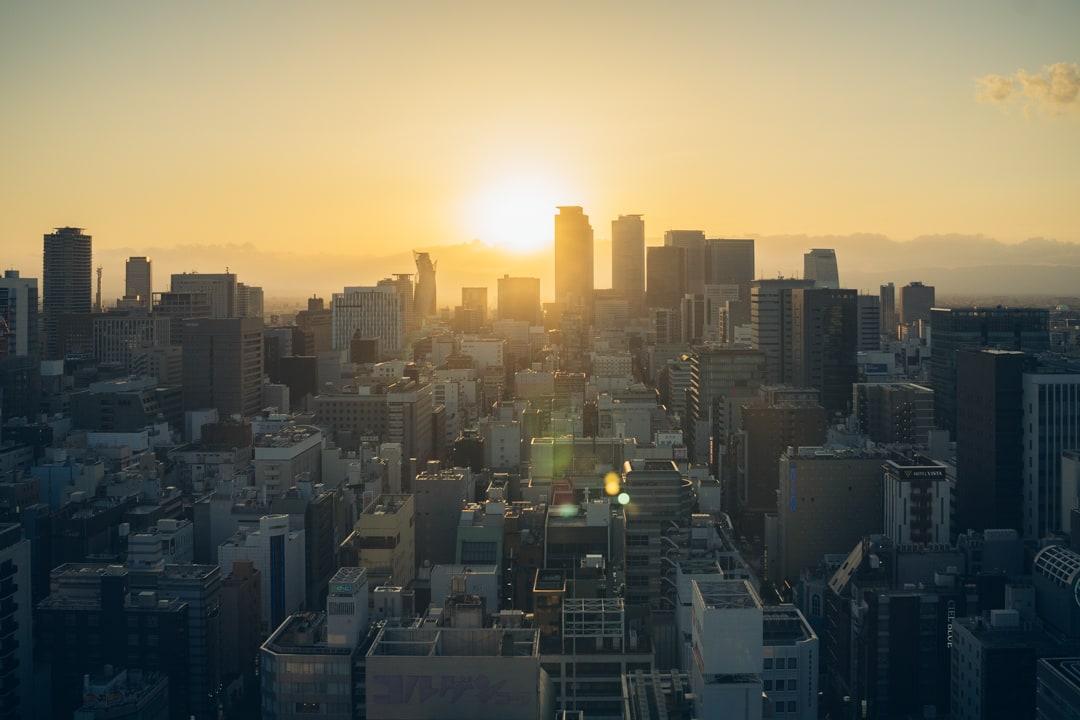 名古屋テレビ塔スカイ デッキから眺める夕焼けの写真