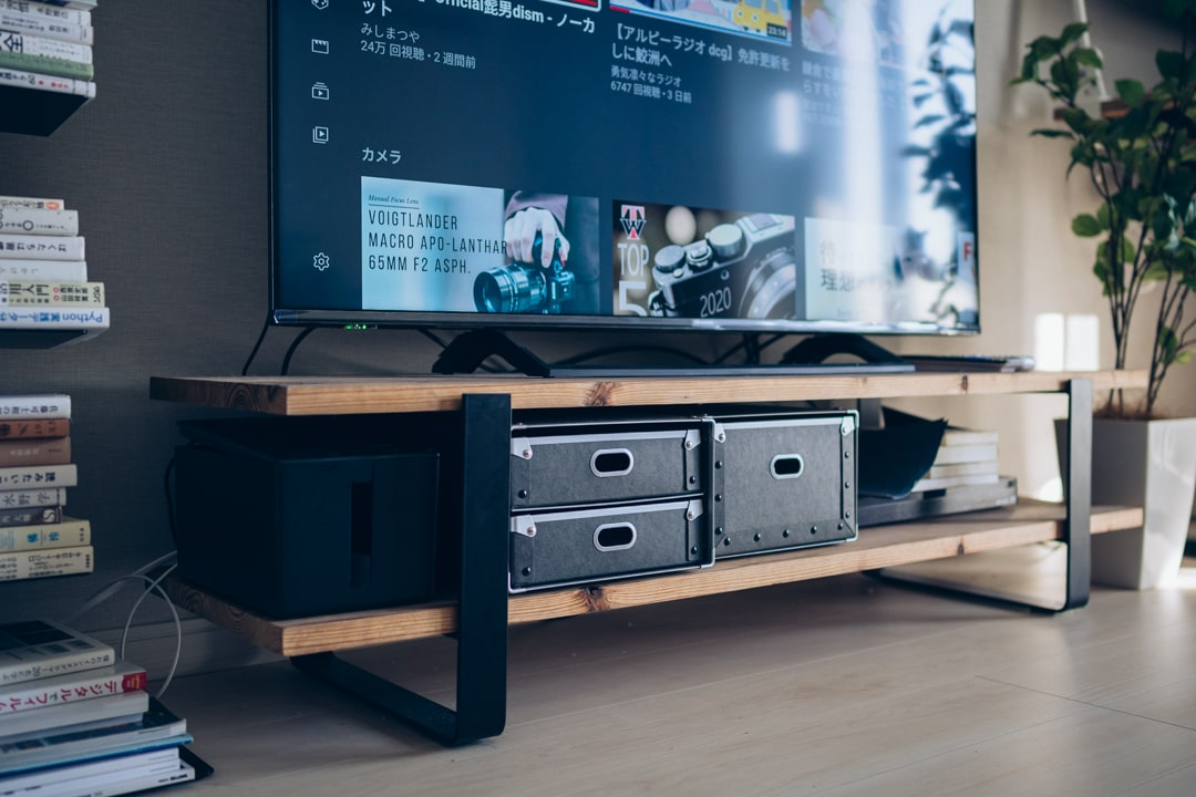 かなものやのTHE LEGSと自作天板で作ったテレビ台