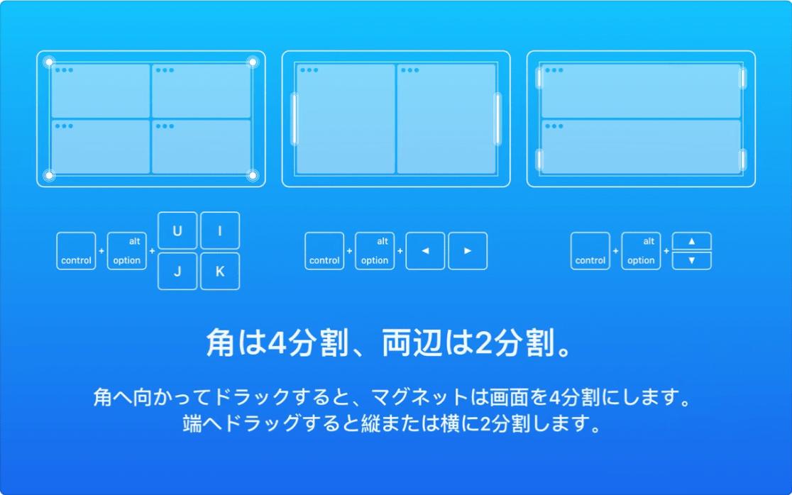 MacBookの画面をピタッと分割してくれるアプリ「magnet」のキャプチャ