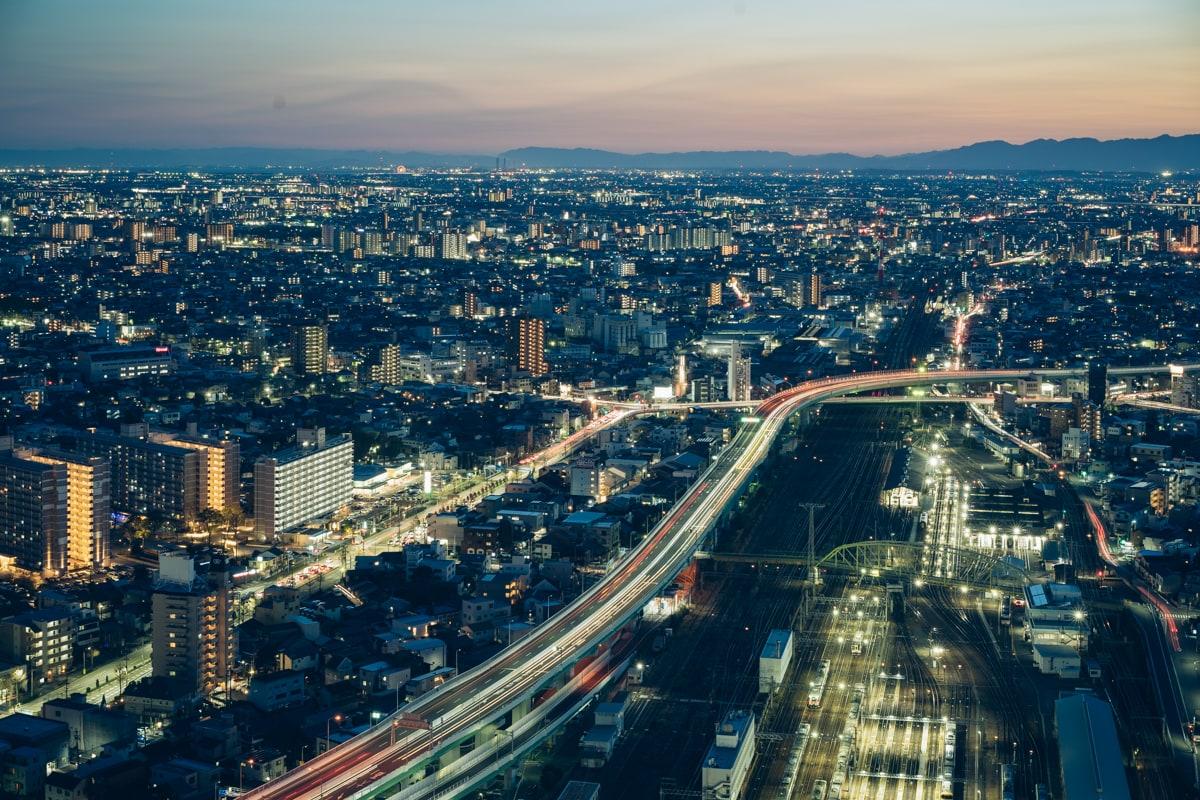 名古屋プリンスホテル西側の客室から眺める夕景
