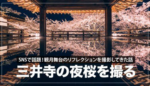 SNSで話題!三井寺の観月舞台から夜桜のリフレクションを撮ってきた話